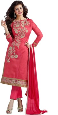 PLIXISTRENDY Chanderi Embroidered Semi stitched Salwar Suit Dupatta Material