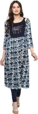 Jaipur Attire Women Floral Print Flared Kurta(Black)