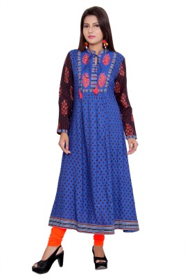 AEINDRI Women Block Print Anarkali Kurta(Blue)