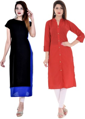 Uniquestyles Formal Solid Women Kurti(Pack of 2, Black, Red)