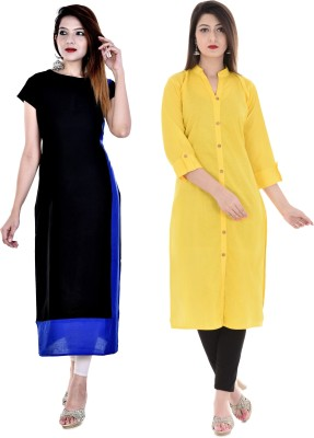 Uniquestyles Formal Solid Women Kurti(Pack of 2, Black, Yellow)