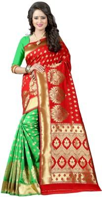 Pehnava Floral Print Banarasi Polycotton, Jacquard Saree(Red, Green, Beige) Flipkart