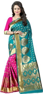 Pehnava Floral Print Banarasi Polycotton, Jacquard Saree(Dark Green, Pink, Beige) Flipkart