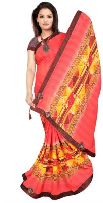 Kiran Sarees Solid, Printed, Self Design Bollywood Poly Silk, Lace, Chiffon Saree(Orange, Red, Multicolor) Flipkart