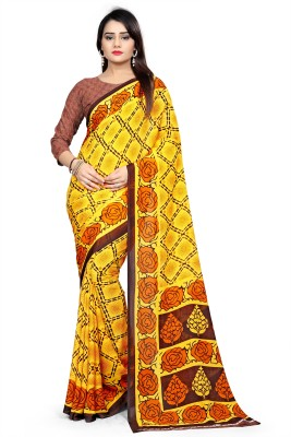 Kara Printed, Floral Print, Geometric Print, Graphic Print, Digital Prints, Self Design, Embellished, Ombre Fashion Georgette, Faux Georgette, Synthetic Georgette Saree(Yellow, Multicolor)