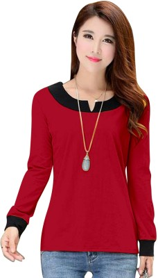 Dream Beauty Fashion Casual Full Sleeve Solid Women's Red Top