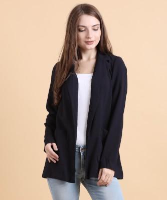 Vero Moda Solid Single Breasted Casual Women Blazer(Dark Blue) at flipkart