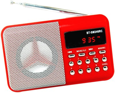 OYD Portable Digital BT246 Mini FM Radio Support recording , usb pendrive, aux in FM Radio(Red)  available at flipkart for Rs.999