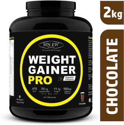 Sinew Nutrition Weight Gainer Pro with Digestive Enzymes, Chocolate Weight Gainers/Mass Gainers 2000 g, Chocolate