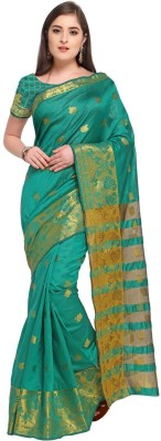 Bhuwal Fashion Solid, Woven Fashion Silk Cotton Blend, Jacquard Saree(Green)