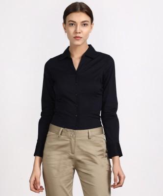 v2uniforms Women Solid Formal Blue Shirt