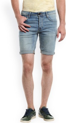 People Solid Men Blue Denim Shorts
