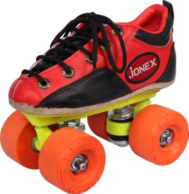 Jonex Men Rollo Rubber Fix Body Size 8 Quad Roller Skates - Size 8 UK(Red)