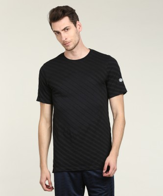 Asics Striped Men Round Neck Black T-Shirt at flipkart