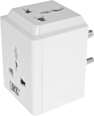 MX 3 Pin and Way 10Amp Socket Plug Spike Buster with Surge Protector and Safety Shutter Worldwide Adaptor(White)