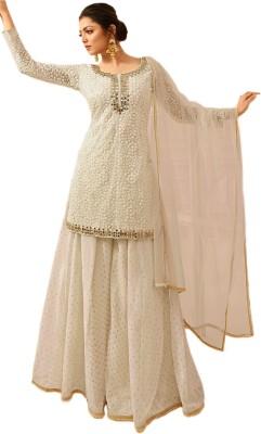 GLAMIFY Net Embroidered Kurta & Sharara Fabric(Semi Stitched) at flipkart