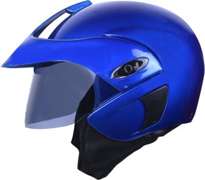 AutoVHPR O2 Pearl Blue Open Face I S I Certified Helmet with Peak Motorbike Helmet(Blue)