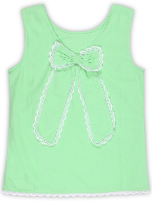 United Colors of Benetton Girls Casual Cotton Linen Blend, Cotton Blend Top(Light Green, Pack of 1)
