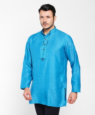 FBB  - Shatranj Men Solid Straight Kurta(Pink) at flipkart