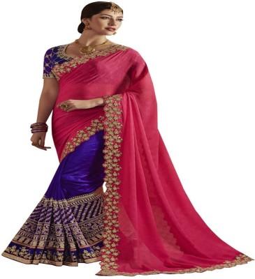Availkart Self Design Fashion Faux Georgette, Tussar Silk Saree(Blue, Pink) Flipkart