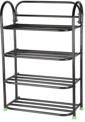Patelraj Metal Collapsible Shoe Stand(Black, 4 Shelves)