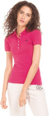 Aeropostale Solid Women Polo Neck Pink T-Shirt