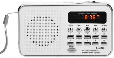 CRETO Latest Digital L-938 Fm Radio Music Mp3 Player Support USB pendrive , aux and memory card FM Radio(White)  available at flipkart for Rs.999