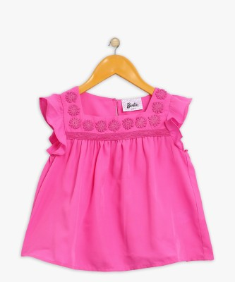 Barbie Girls Casual Polycotton Top(Pink, Pack of 1) at flipkart
