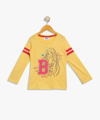 Barbie Girls Casual Cotton Blend Top(Yellow, Pack of 1) at flipkart
