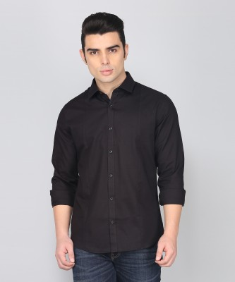 United Colors of Benetton Men Solid Casual Black Shirt at flipkart