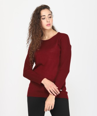 Urban Studio Solid Round Neck Casual Women Maroon Sweater