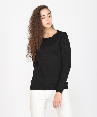 Metronaut Solid Round Neck Casual Women Black Sweater at flipkart