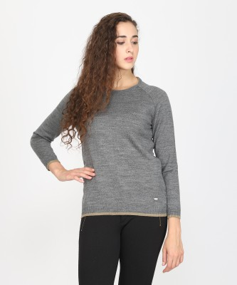 Metronaut Solid Round Neck Casual Women Grey Sweater