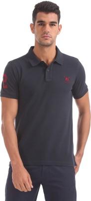 U.S. Polo Assn Solid Men Polo Neck Blue T-Shirt