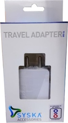 Syska TC 2AD 2 A Multiport Mobile Charger with Detachable Cable White Syska Wall Chargers