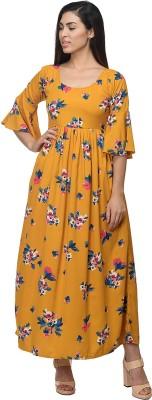 Kannan Women Fit and Flare Yellow Dress