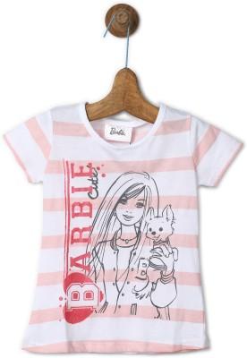 Barbie Girls Striped Cotton Blend T Shirt(White, Pack of 1) at flipkart