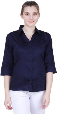 Broadstar Women Solid Formal Blue Shirt