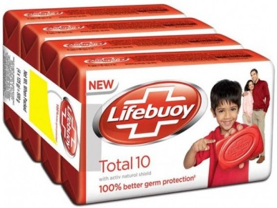 Lifebuoy Total 10 Germ Protection Soap Bar, 125g (pack of 4)(125 g)