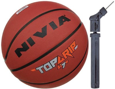 Nivia Top Grip Basketball S-7 + Double Action Pump Basketball - Size: 7(Pack of 2, Multicolor)