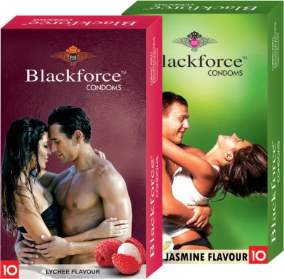 Blackforce Dotted Jasmine and Lychee Combo Pack Condom Condom(Set of 2, 20S)