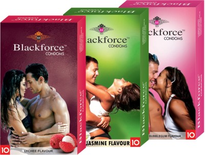 Blackforce Dotted Bubblegum,Jasmine,Lychee Combo Pack Condom Condom(Set of 3, 30S)