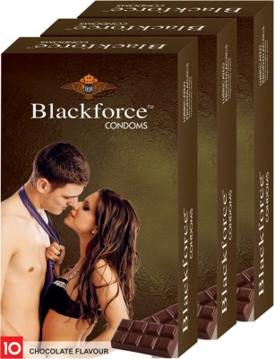 Blackforce Dotted Chocolate Combo Pack Condom Condom(Set of 3, 30S)