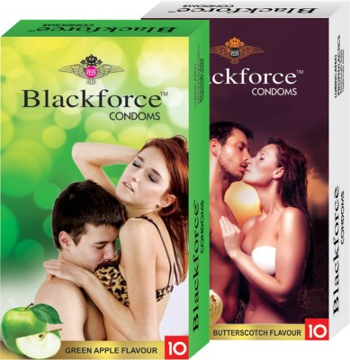 Blackforce Dotted Butterscotch and Green Apple Combo Pack Condom Condom(Set of 2, 20S)