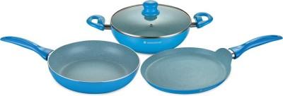 Wonderchef Diana Set   Blue Induction Bottom Cookware Set Aluminium, 3   Piece Wonderchef Cookware Sets