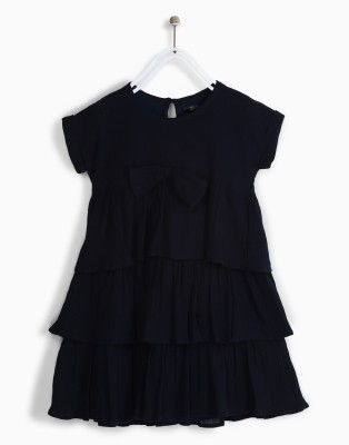 Chemistry Girls Mini/Short Casual Dress(Dark Blue, Half Sleeve) at flipkart