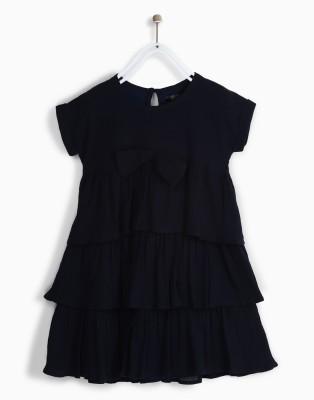 Chemistry Girls Mini/Short Casual Dress(Dark Blue, Half Sleeve) at flipkart