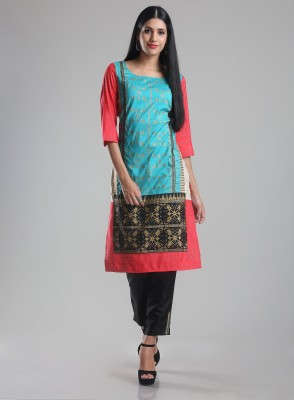 W Women Printed Straight Kurta(Pink) at flipkart