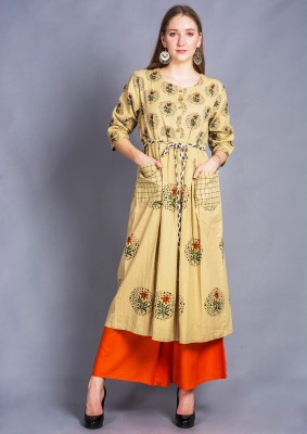 Divastri Women Floral Print Flared Kurta(Beige)