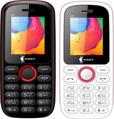 Ssky K3 Combo of Two Mobiles(Black&Red, White&Pink)